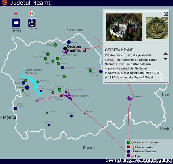 Judetul Neamt Harta Interactiva Administrativa Turistica